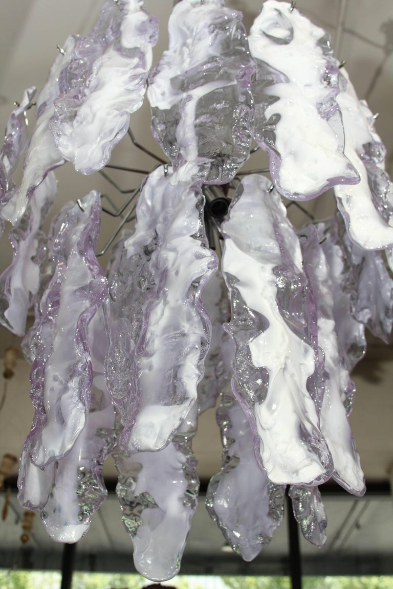 Italian Glass Chandelier in Lavender For Sale 5