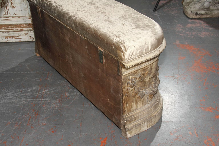 19th Century French Bench with Velvet Top For Sale 5