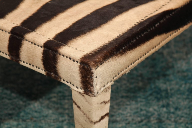 Vintage Zebra Hide Coffee or Cocktail Table In Good Condition For Sale In Seattle, WA