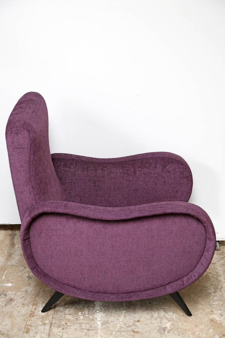 Italian midcentury recently refinished armchairs  In the style of the Marco Zanuso Lady chair, soft plum velvet fabric, very comfortable seats, elegant design.