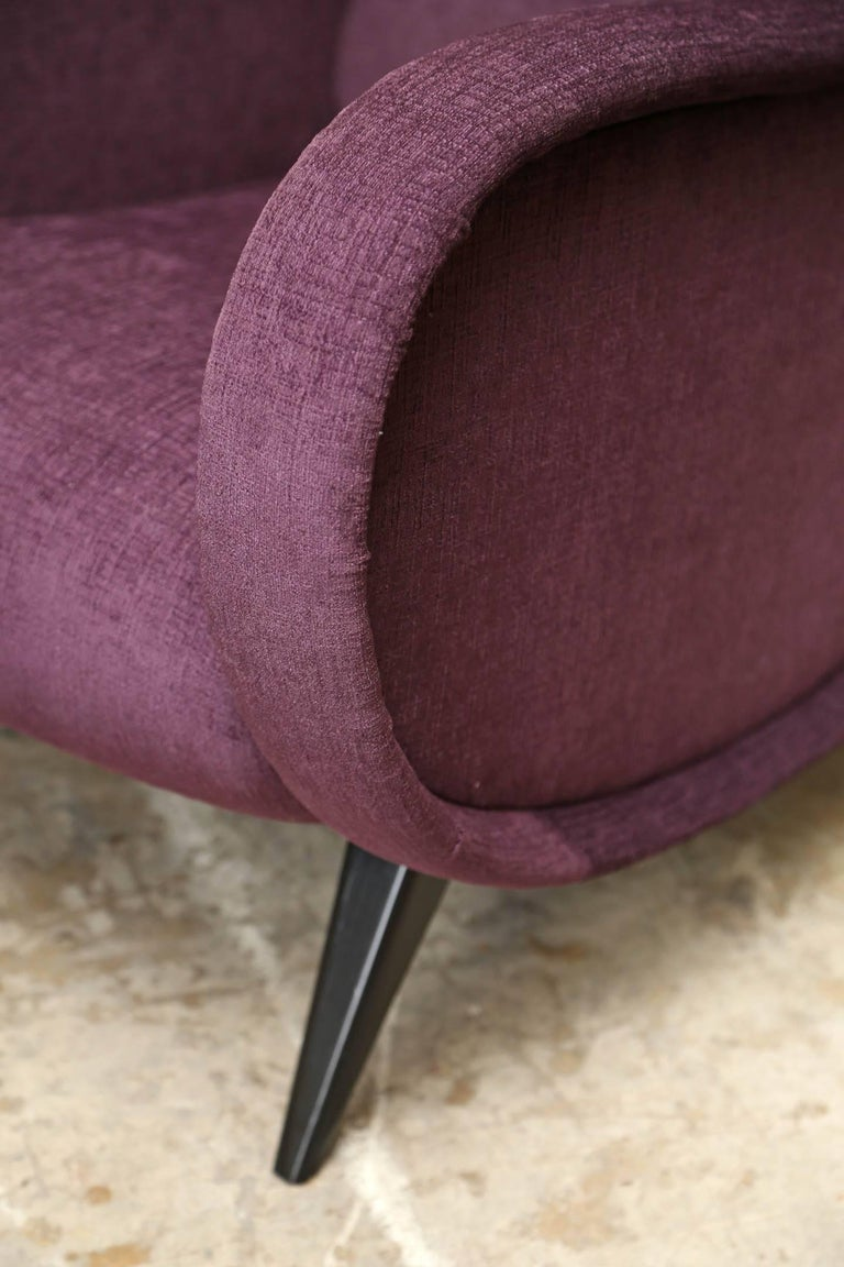 Fabric Pair of Midcentury Italian Armchairs in the Style of Marco Zanuso Refinished For Sale