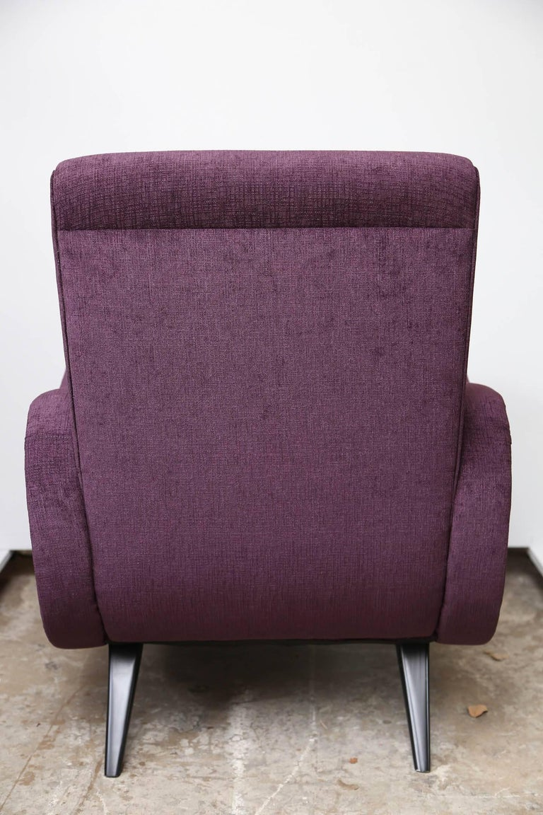 Pair of Midcentury Italian Armchairs in the Style of Marco Zanuso Refinished For Sale 1