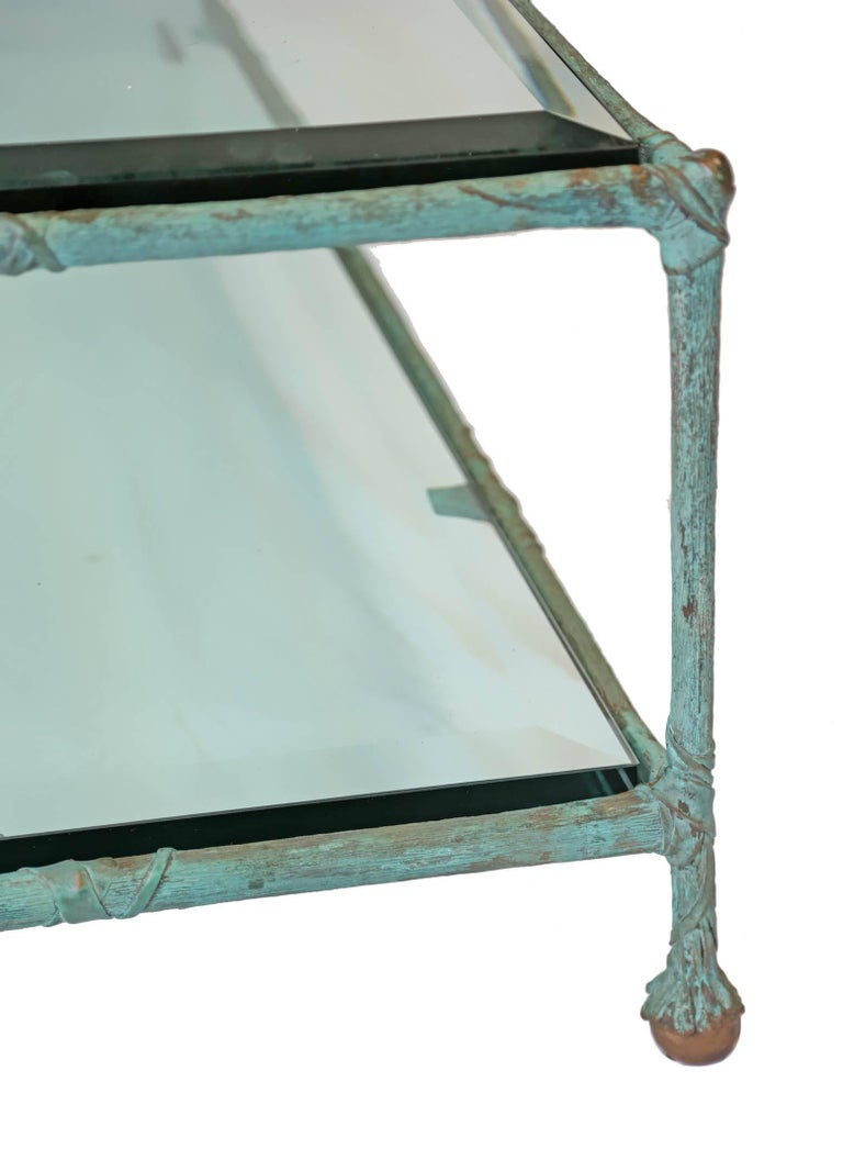 French Glass Coffee Table in the Style of Alberto Giacometti For Sale