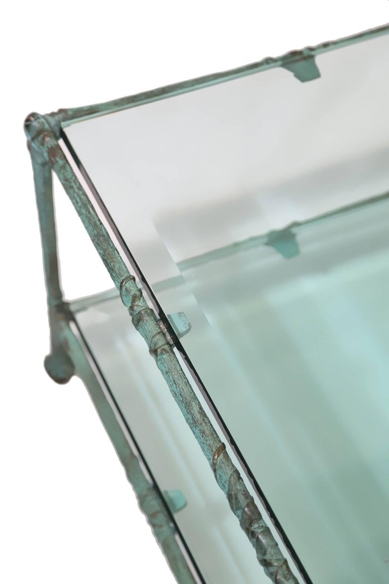 Glass Coffee Table in the Style of Alberto Giacometti In Excellent Condition For Sale In Miami, FL