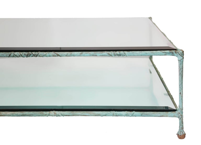 Bronze Glass Coffee Table in the Style of Alberto Giacometti For Sale