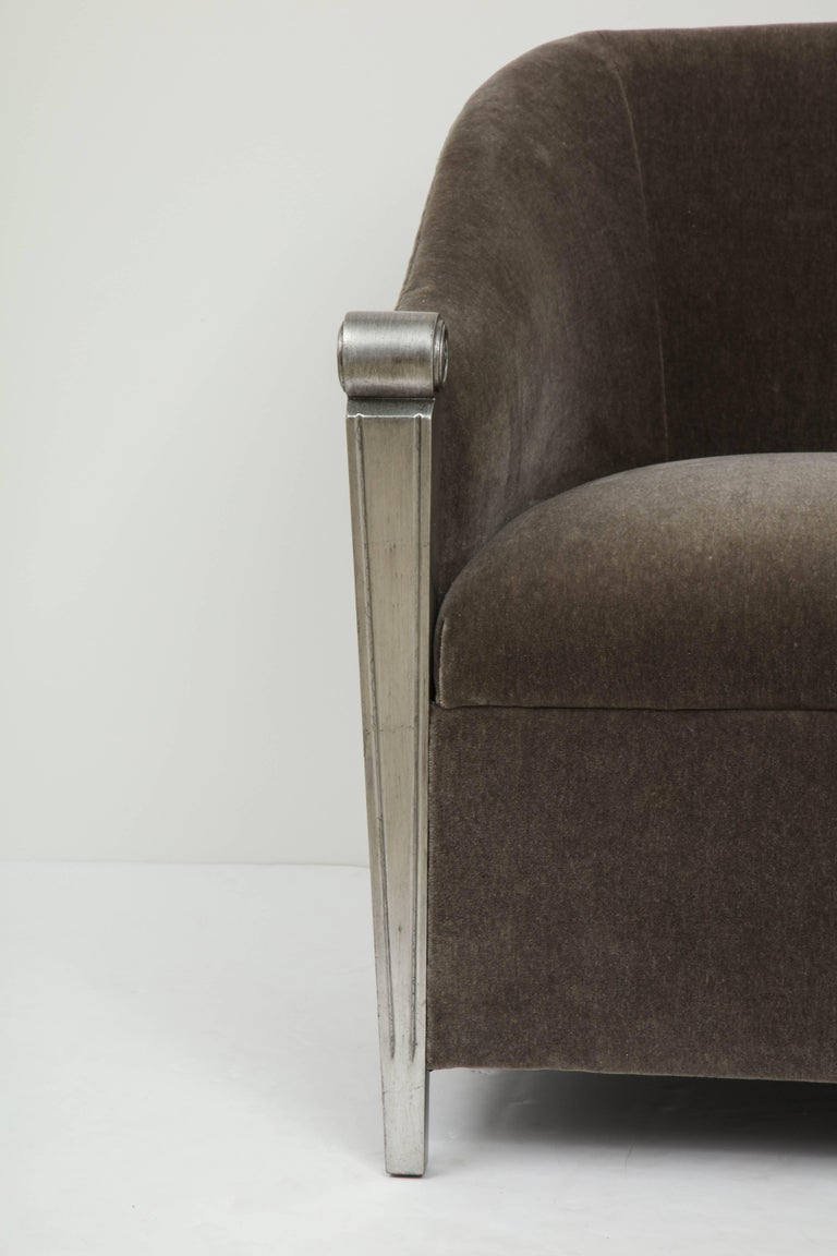 American Art Deco Silver Leaf and Mohair Club Chairs For Sale