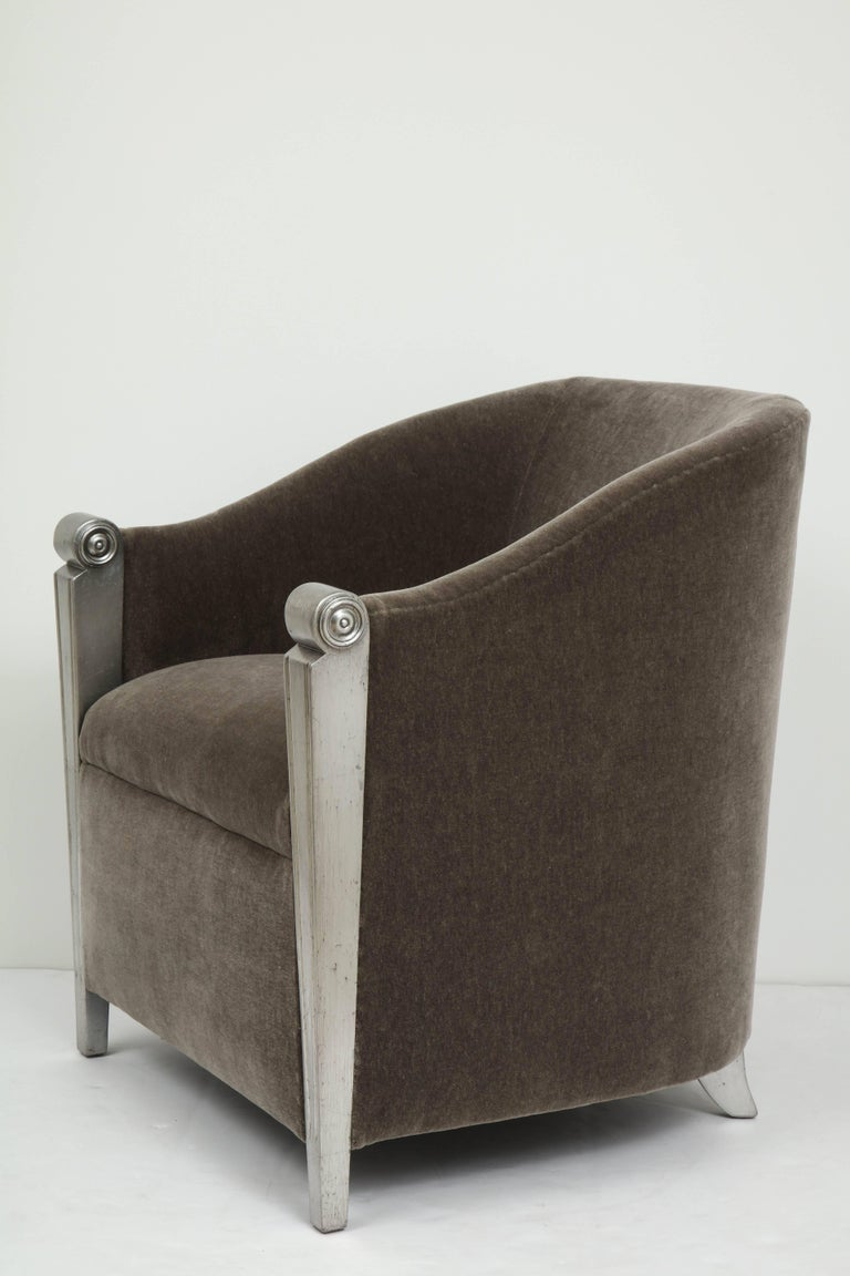 Art Deco Silver Leaf and Mohair Club Chairs In Excellent Condition For Sale In New York, NY
