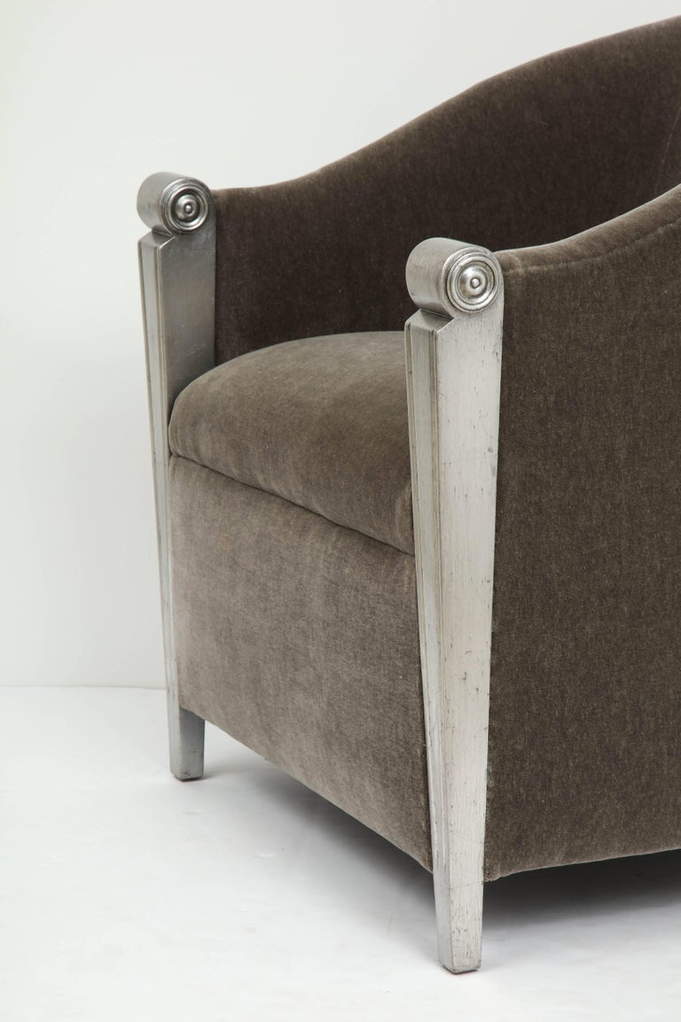 20th Century Art Deco Silver Leaf and Mohair Club Chairs For Sale