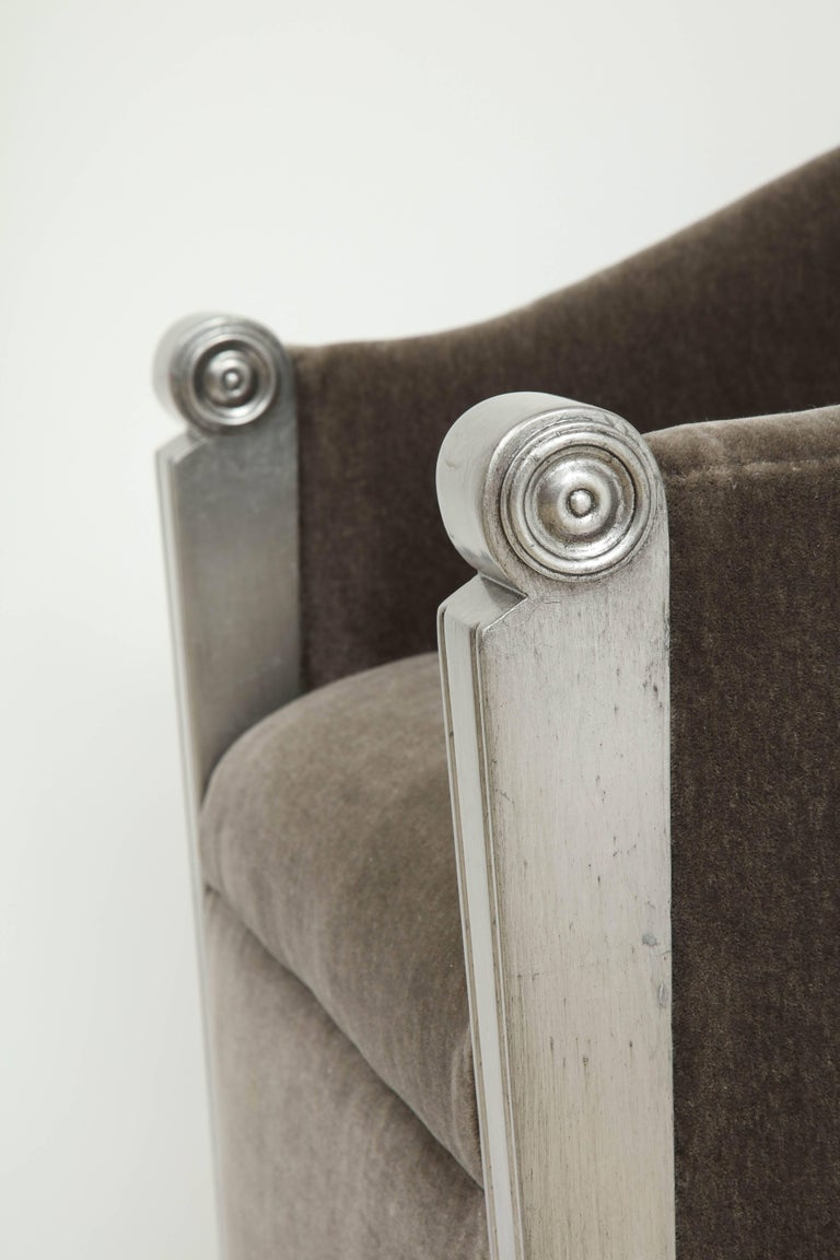 Art Deco Silver Leaf and Mohair Club Chairs For Sale 1