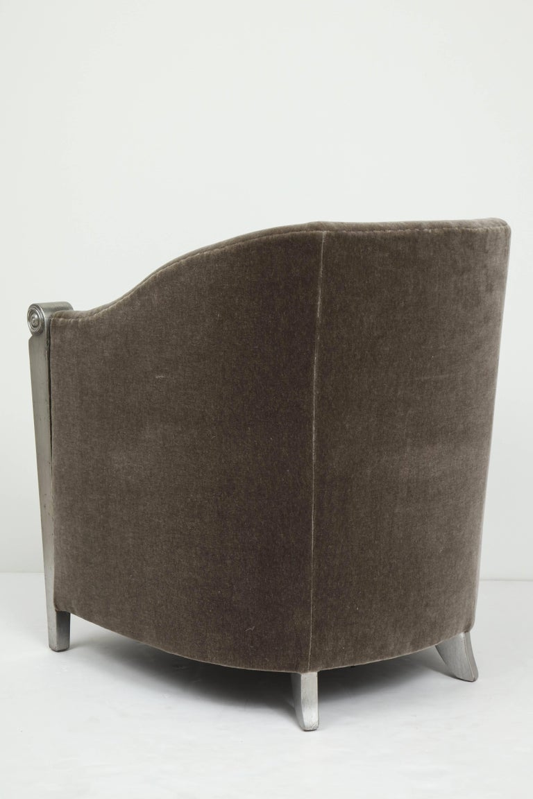Art Deco Silver Leaf and Mohair Club Chairs For Sale 4