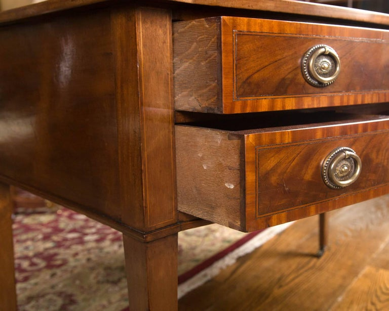 British English Writing Table / Desk with Leather Writing Surface For Sale