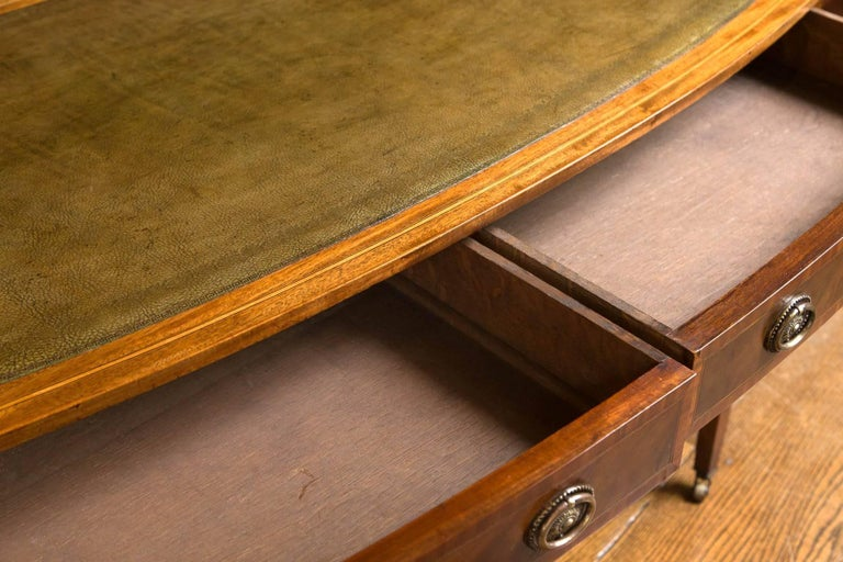 Inlay English Writing Table / Desk with Leather Writing Surface For Sale