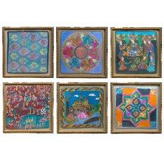 Set of Six Framed Turkish Silks