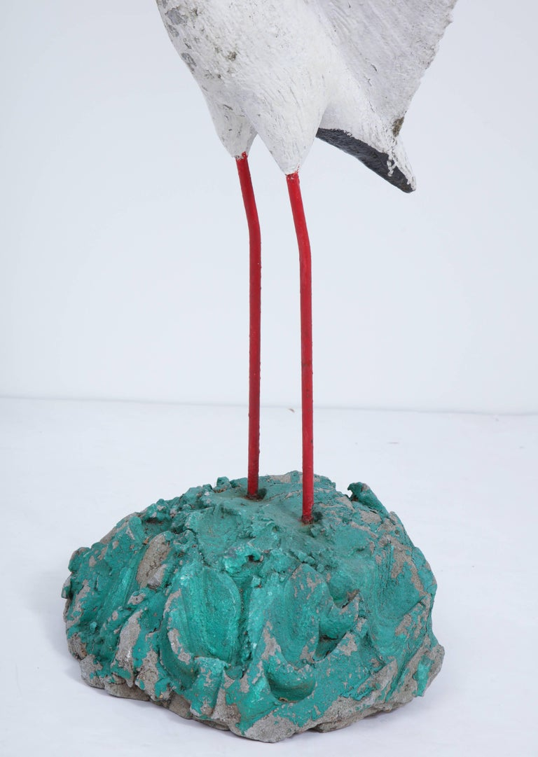 Painted Seagull Sculpture with Large Wingspan For Sale 3