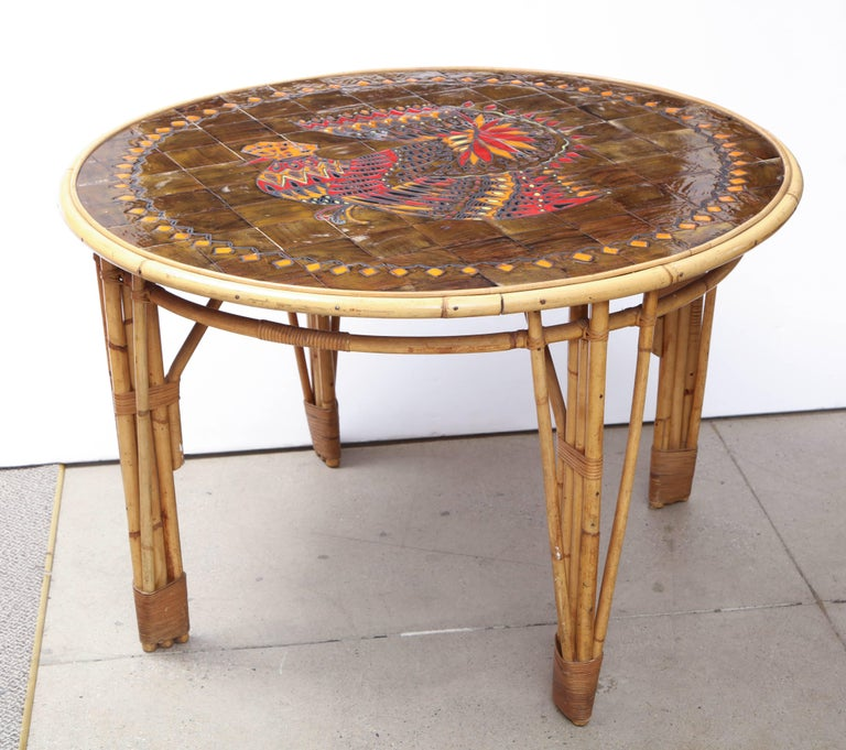 Rattan and Ceramic Tile Top Table In Good Condition For Sale In Mt Kisco, NY