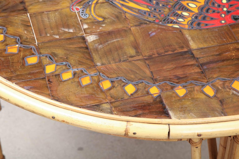 Mid-20th Century Rattan and Ceramic Tile Top Table For Sale