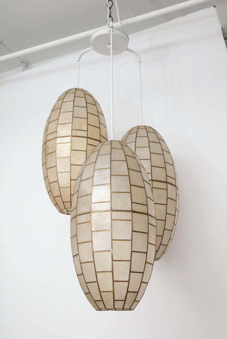 Translucent shell and metal chandelier with three oval fixtures.