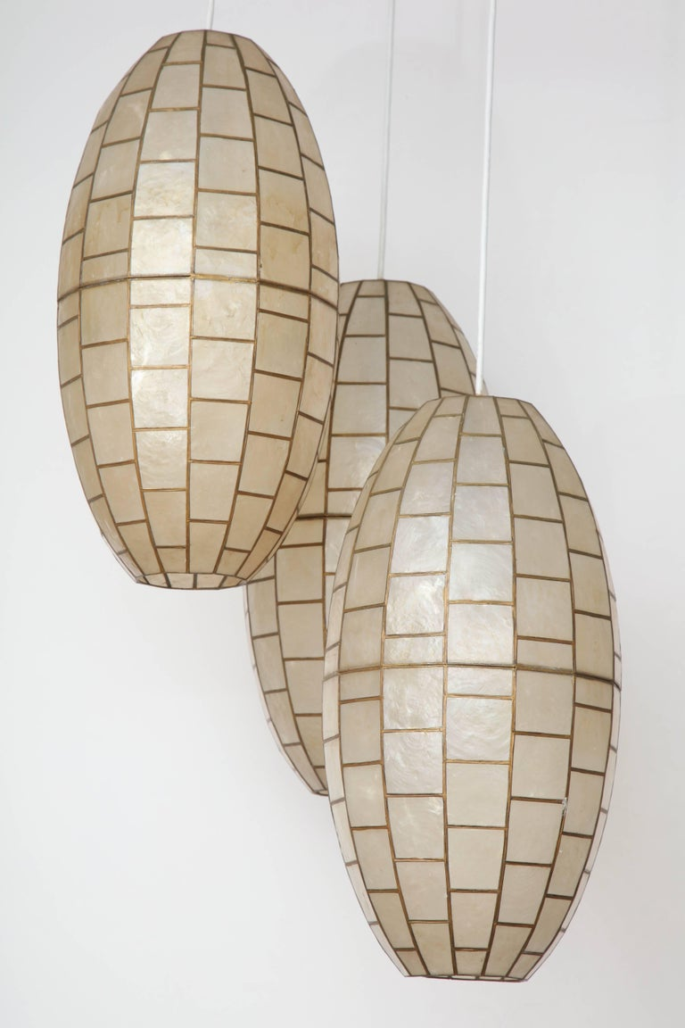 Unknown Translucent Shell and Metal Chandelier For Sale