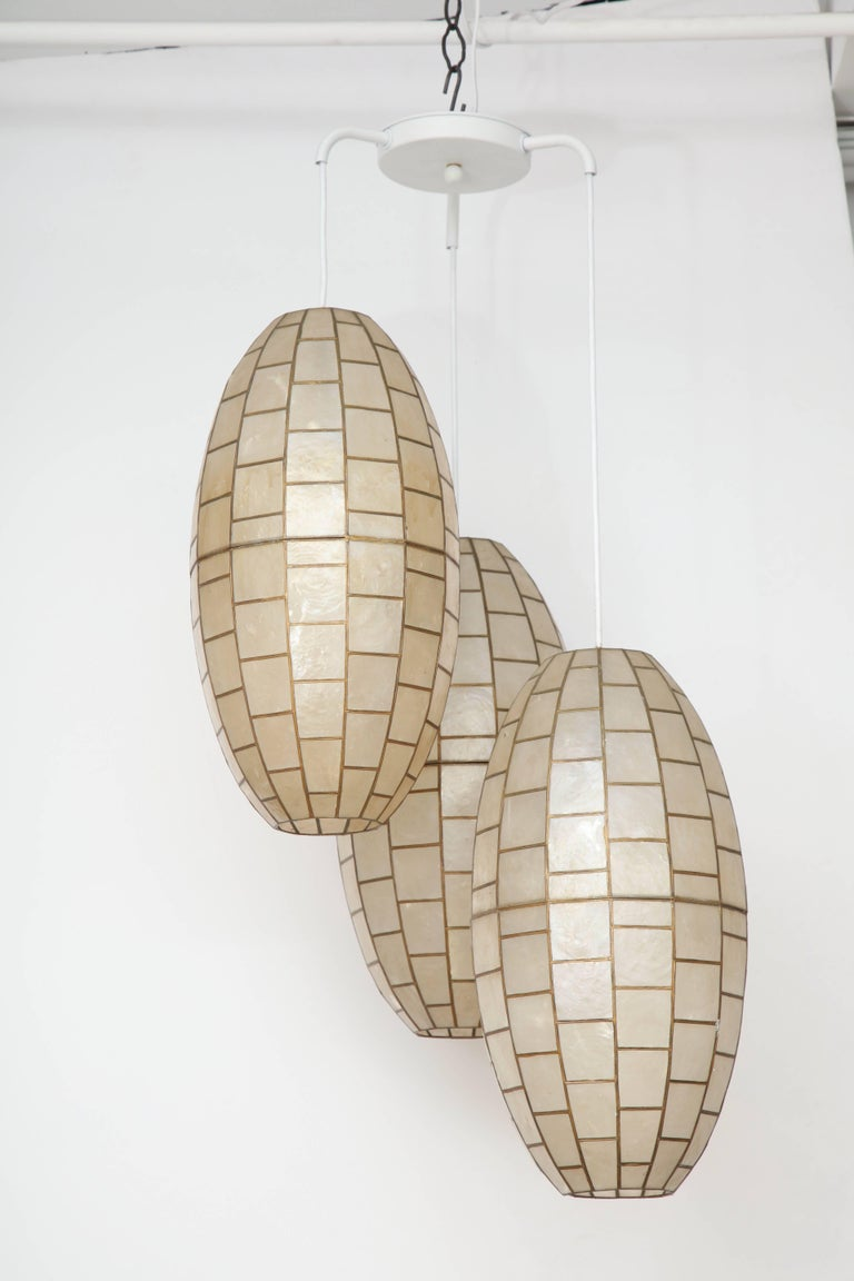 20th Century Translucent Shell and Metal Chandelier For Sale
