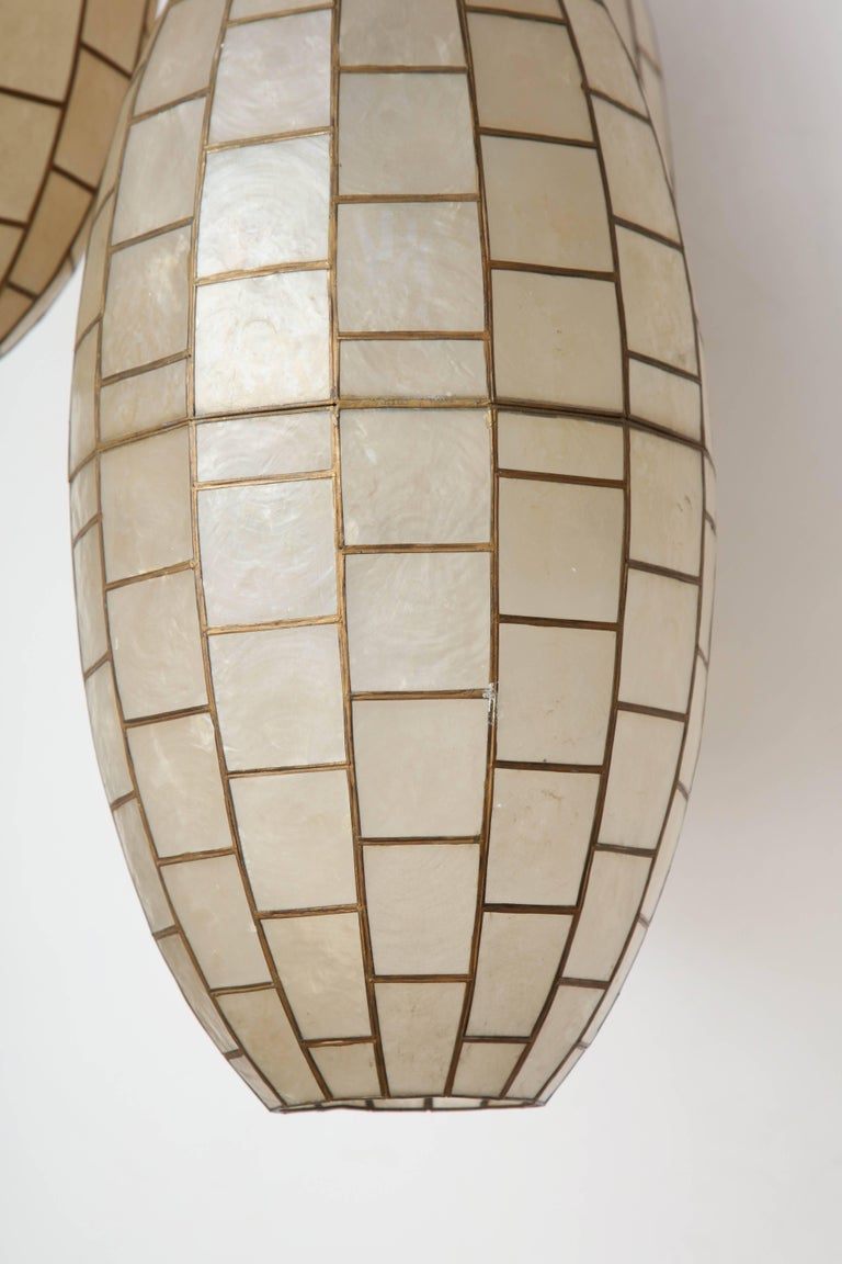 Translucent Shell and Metal Chandelier For Sale 1