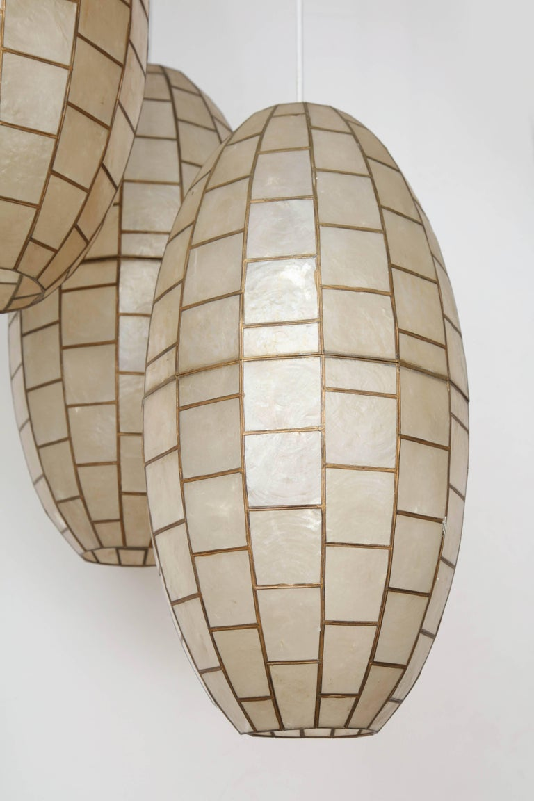 Translucent Shell and Metal Chandelier For Sale 4