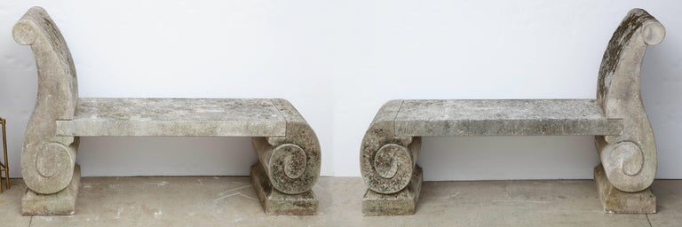 Pair of 1795 phenomenal carved limestone benches with exquisite detail, from a home along the Loire the longest river in France.