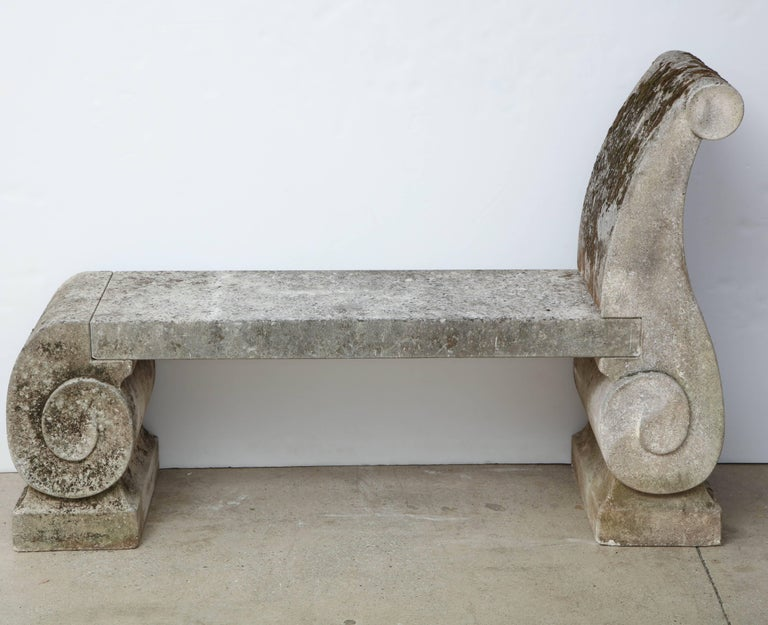Pair of 1795 Phenomenal Carved Limestone Benches In Good Condition For Sale In Mt Kisco, NY