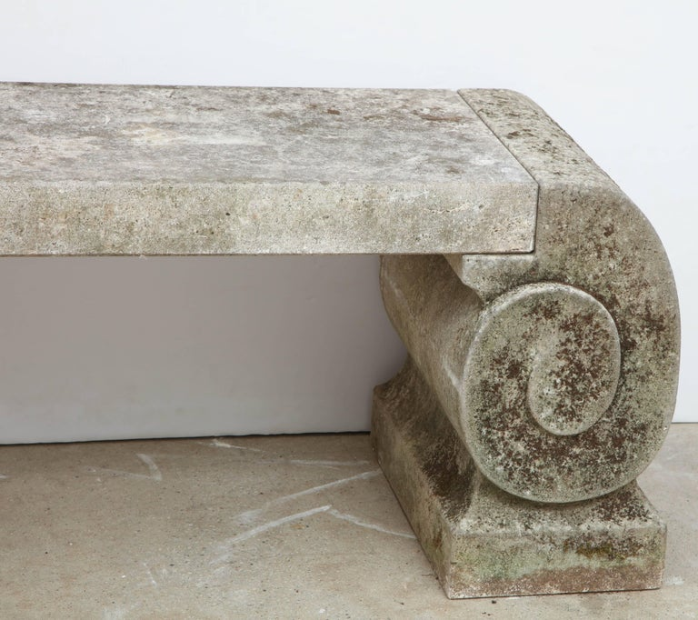 Late 18th Century Pair of 1795 Phenomenal Carved Limestone Benches For Sale