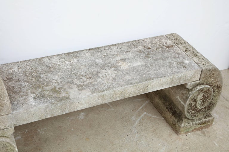 Pair of 1795 Phenomenal Carved Limestone Benches For Sale 4
