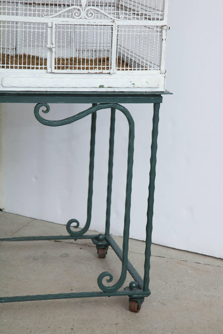 20th Century Painted White Metal Birdcage on Stand For Sale