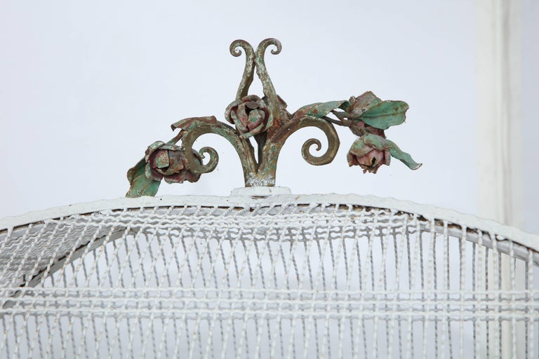 Painted White Metal Birdcage on Stand For Sale 2