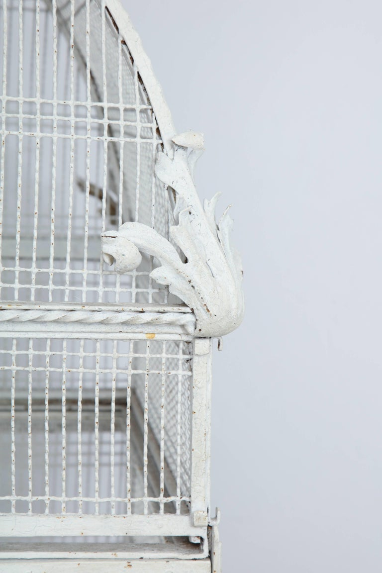 Painted White Metal Birdcage on Stand For Sale 3