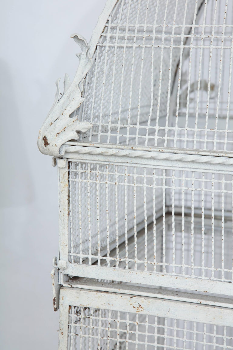 Painted White Metal Birdcage on Stand For Sale 4