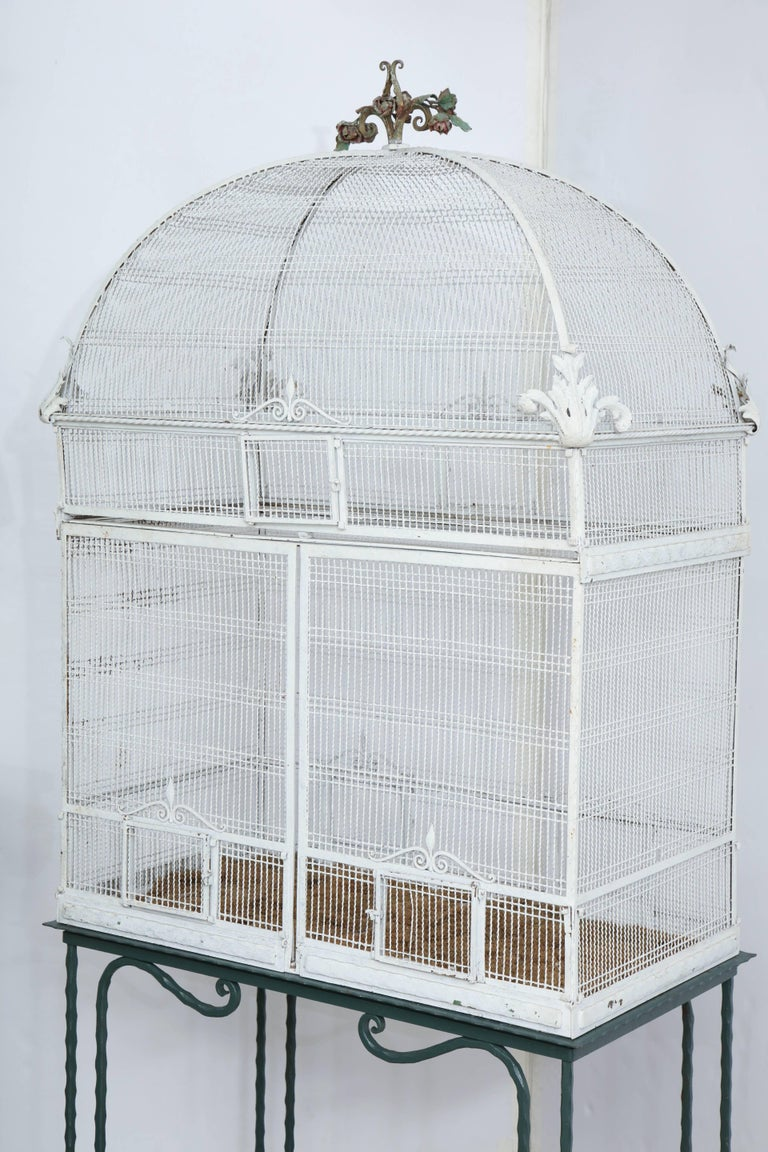 Painted White Metal Birdcage on Stand For Sale 5