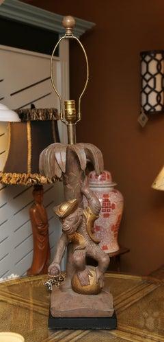 Rare Italian Vintage Hand-Carved Wood Monkey Table Lamp