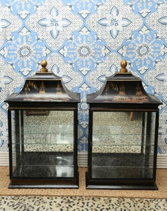 Pair of Vintage Chinese Hand-Painted Hanging Display Cabinet