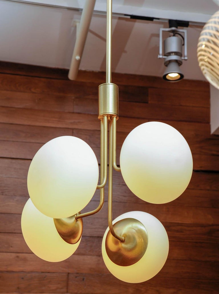 Satin Brass Suspension with Four Lights and Round White Glass Globe In Excellent Condition For Sale In Saint-Ouen, IDF