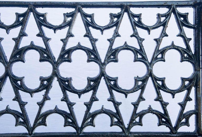 Pair of Black Gothic Style Cast Iron Benches For Sale 1