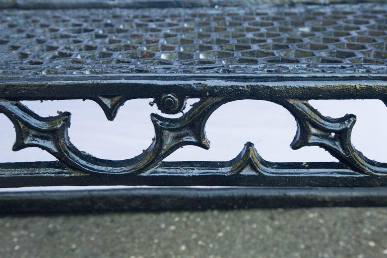 Pair of Black Gothic Style Cast Iron Benches For Sale 2