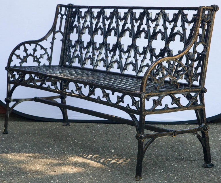 Pair of Black Gothic Style Cast Iron Benches For Sale 3