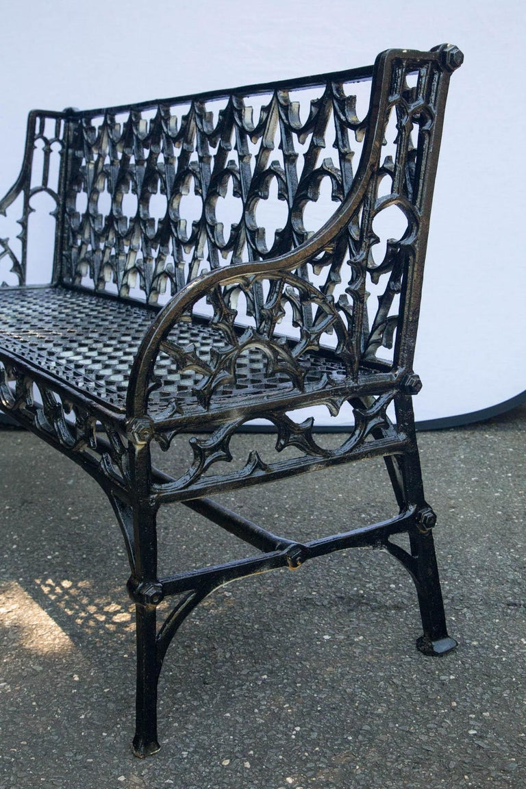 Pair of Black Gothic Style Cast Iron Benches For Sale 4