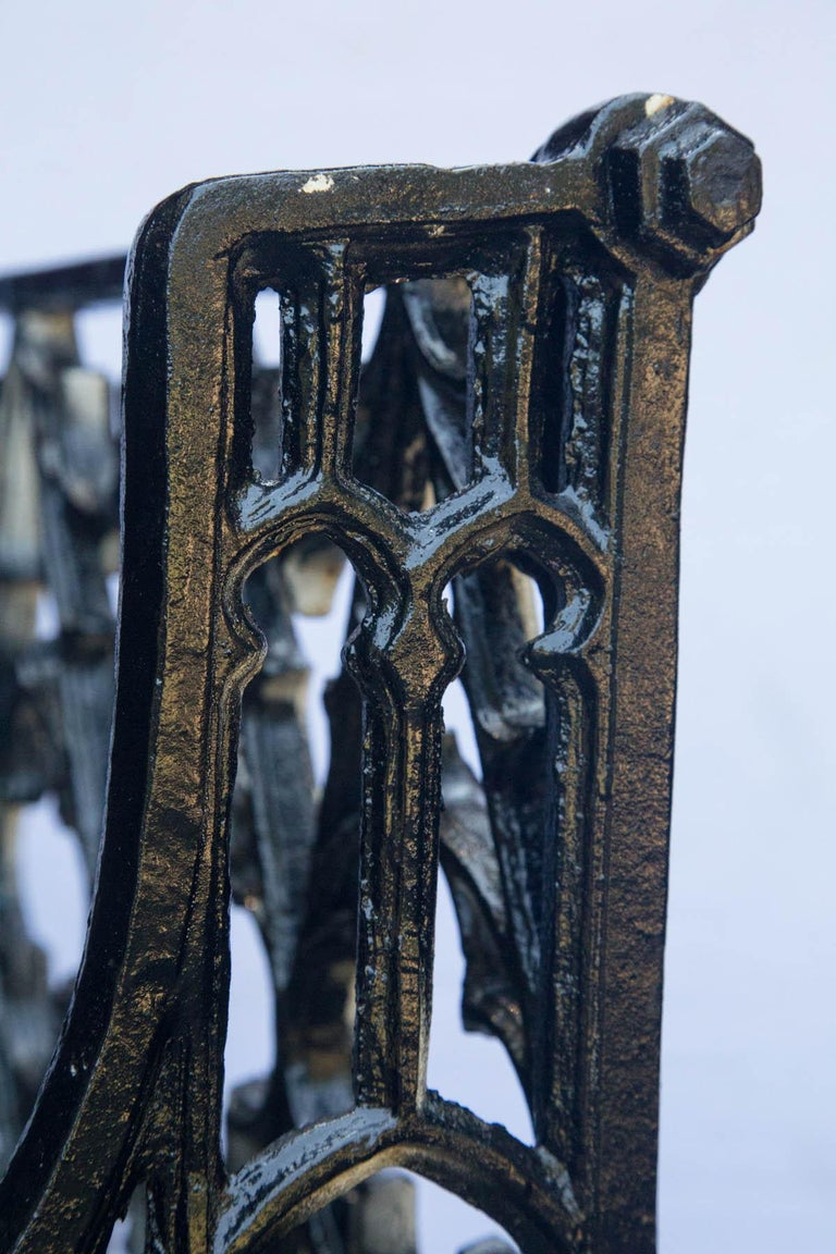 Pair of Black Gothic Style Cast Iron Benches For Sale 5