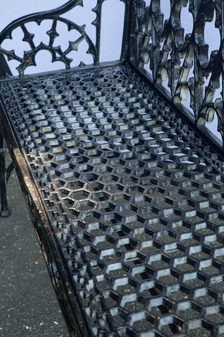 Pair of Black Gothic Style Cast Iron Benches For Sale 6