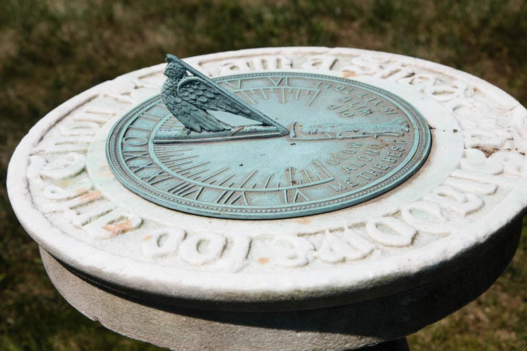 1880s Carved Marble and Bronze Sundial  In Good Condition For Sale In Mt Kisco, NY