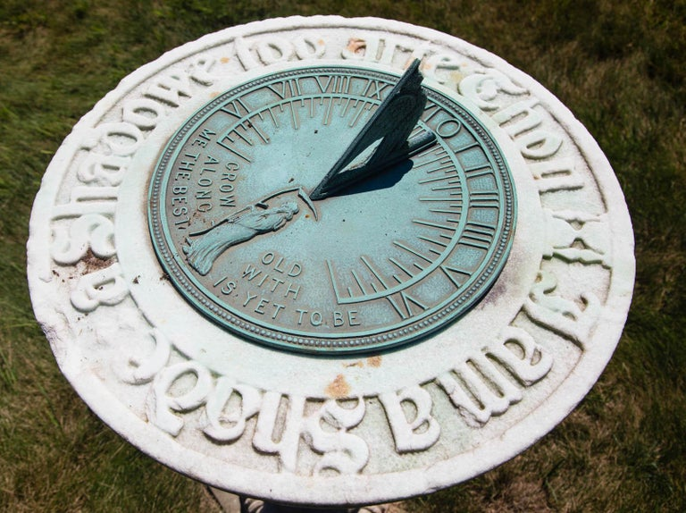 1880s Carved Marble and Bronze Sundial  For Sale 3