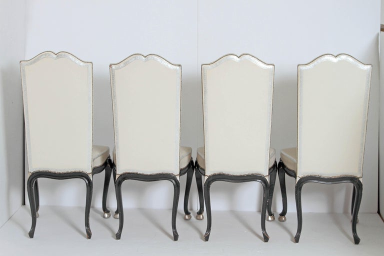 Leather Louis XV Style Set of 12 Dining Chairs For Sale