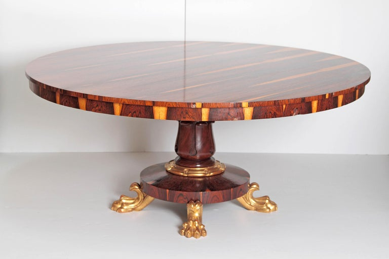 Turned Period English Regency Centre Table of Exotic Calamander For Sale