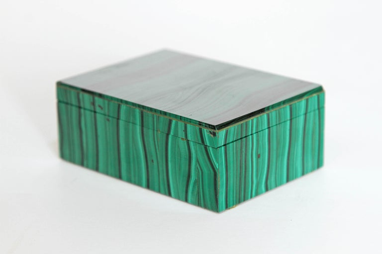 A vintage or midcentury malachite box, small, with very nicely matched pattern and a vibrant green color, white stone interior.