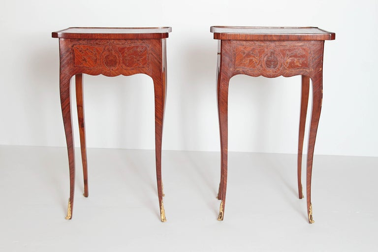 Hand-Carved Pair of Petite Louis XV Transitional-Style Side Tables For Sale