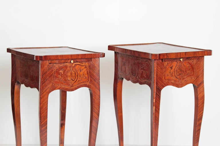 19th Century Pair of Petite Louis XV Transitional-Style Side Tables For Sale